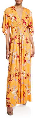 Rachel Pally Plus Size Floral-Print V-Neck Kimono-Sleeve Caftan Dress