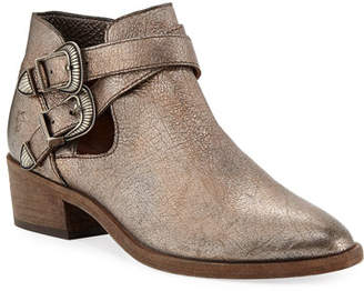 Frye Ray Western Metallic Ankle Booties