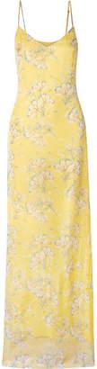 Eywasouls Malibu - Sophia Floral-print Chiffon Maxi Dress - Pastel yellow