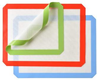 HK Silicone Baking Mat Set of 3, 2 x Standard Half Sheet, 1 X Toaster Oven, Non Stick Heat Resistant Baking Cookie Sheets