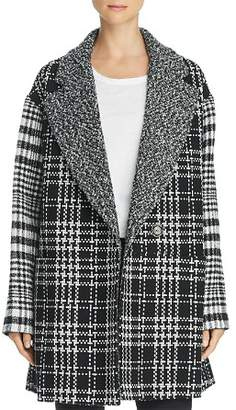French Connection Belinda Mixed-Plaid Coat
