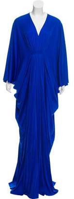 Reem Acra Wing-Sleeve Evening Dress