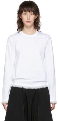 Noir Kei Ninomiya White Faux-Fur Detail Long Sleeve T-Shirt