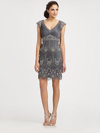 Sue Wong Embellished Champagne Dress