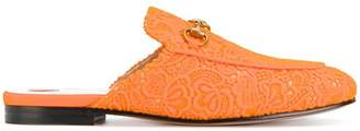 Gucci Orange Princetown Lace Mules