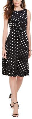 Jessica Howard Petite Polka Dot Tie-Front Dress
