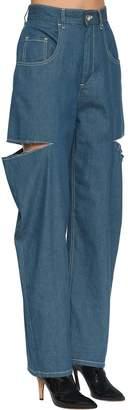 Maison Margiela Cut Out Wide Leg Light Denim Pants