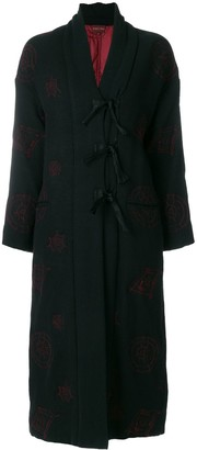 Romeo Gigli Pre-Owned contrasting embroidery coat