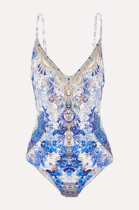 Camilla Painted Provincial Embellished Printed Swimsuit - Bright blue