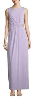 Ellen Tracy Embellished Pleated Gown