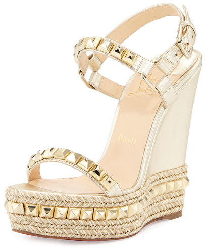 Christian Louboutin Christian Louboutin Cataclou Studded Leather Wedge Red Sole Sandal, Sahara/Light Gold