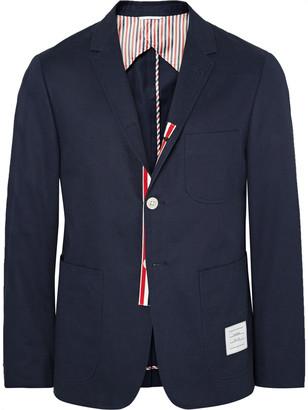 Thom Browne Midnight-Blue Slim-Fit Cotton-Twill Blazer $1,200 thestylecure.com