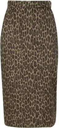 Max Mara Leopard Print Pencil Skirt
