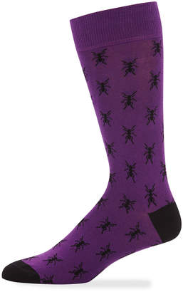 Jared Lang Men's Bee-Print Cotton-Blend Socks