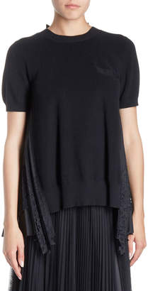 Sacai Crewneck Short-Sleeve Lace-Back Knit Top