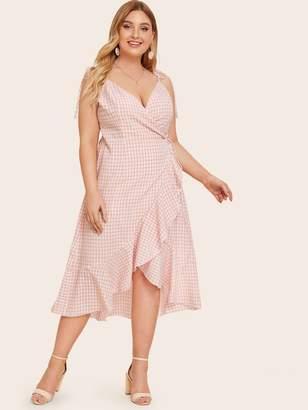 Shein Plus Gingham Flounce Trim Wrap Cami Dress