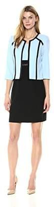 Sandra Darren Women's 2 Pc 3/4 Sleeve Scuba Crepe Jacket Sheath Dress Set
