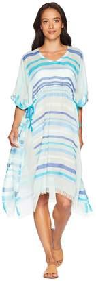 Echo Sunset Metallic Stripe Side Tie Caftan Women's Clothing