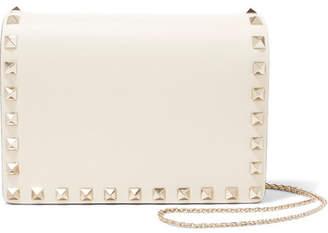 Valentino Garavani The Rockstud Leather Shoulder Bag - Ivory