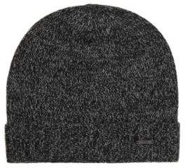 BOSS Hugo Beanie hat in mouline cashmere One Size Black