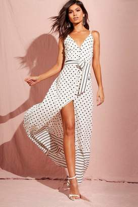 boohoo Spot And Stripe Mixed Print Maxi Dress