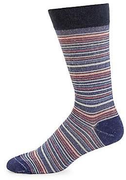 Marcoliani Milano Men's Bellagio Stripe Linen-Blend Crew Socks