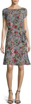 ECI Stripe & Floral Print Flounce Hem Dress