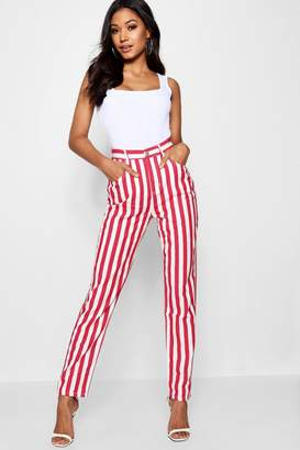 boohoo Red Stripe Mom Jean