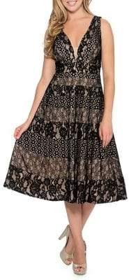 Decode 1.8 Lace Fit-&-Flare Midi Dress