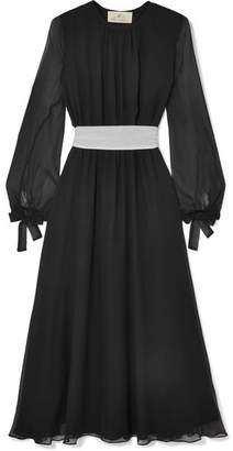 ARoss Girl x Soler Amanda Belted Silk-georgette Midi Dress - Black