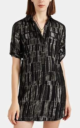 Saint Laurent Women's Lamé-Striped Silk Chiffon Shirtdress - Black