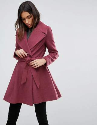 ASOS Skater Coat with Self Belt and Oversized Collar $119 thestylecure.com