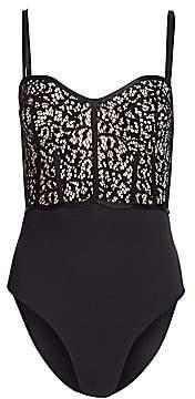 Jonathan Simkhai Women's Lace Combo Bustier One-Piece Swimsuit