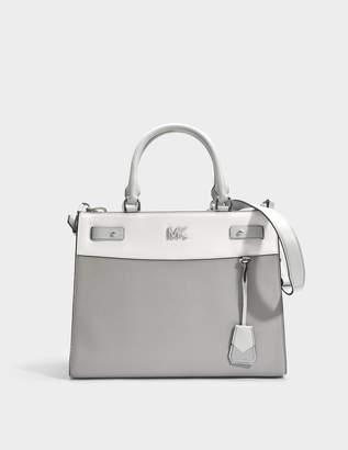 4c15fcccb5353e MICHAEL Michael Kors Mott Uptown Large Satchel Bag in Grey and White Small  Grain Pebble Leather