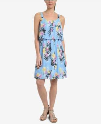 NY Collection Floral-Print Pleated Popover Dress