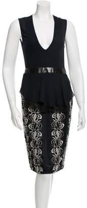 Brandon Sun Crochet-Embellished Sheath Dress w/ Tags Navy Brandon Sun Crochet-Embellished Sheath Dress w/ Tags