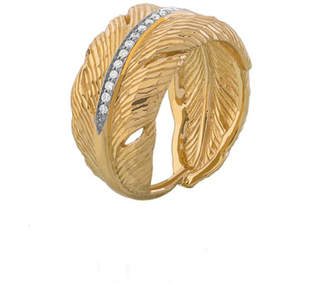 Michael Aram 18K Yellow Gold Feather Ring with Diamonds