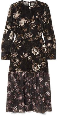 Markus Lupfer Mina Floral-print Devoré-chiffon Dress - Black