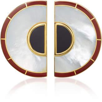 Monica Sordo Brujo Half Orbit 24K Gold-Plated Brass Mother Of Pearl Earrings