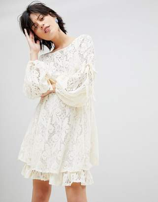 Free People Ruby Lace Dress with Tie Sleeves