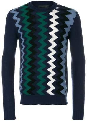Prada zigzag intarsia cashmere blend jumper