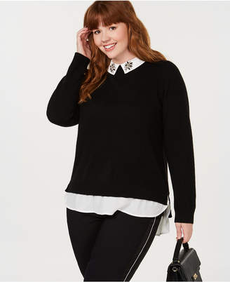aab7c531d73 ... Charter Club Plus Size Pure Cashmere Layered-Look Sweater
