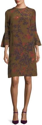 Lafayette 148 New York Sidra Bell-Sleeve Garden Floral Silk Dress