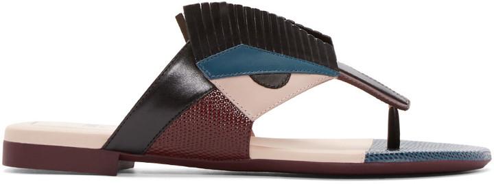 Fendi Multicolor Leather Bug Eyes Sandals