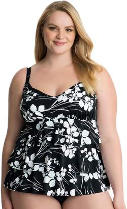 ae8dc424da at Kohl s · Croft   Barrow Plus Size Hip Minimizer Tiered D-Cup Swimsuit