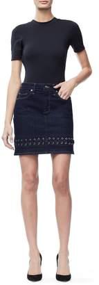 Ga Final The Lace Up Mini Denim Skirt - Blue158
