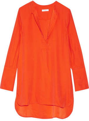 Equipment - Niko Washed-silk Tunic - Bright orange $240 thestylecure.com