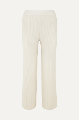 Markus Lupfer Tilda Ribbed Wool And Cashmere-blend Straight-leg Pants - Off-white