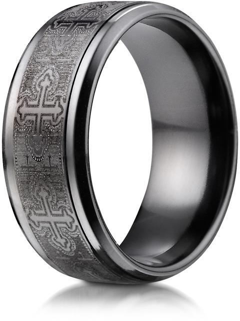 Benchmark Black Titanium 9mm Comfort-Fit Cathedral Cross Design Ring