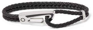 Montblanc Carabiner Braided Leather, Enamel And Sterling Silver Bracelet